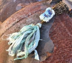 Blue titanium Oxide Drusy Cave Slab Silk Sari Ribbon Tassel Necklace Caymans
