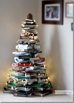 christmas tree made of books!--definitely for the bookworm!!