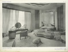 Woman's BedroomFrom Ensembles mobiliers via NYPL Woman's bedroom from Ensembles mobiliers. Looks straight out of a . Art Deco Hotel, Estilo Hollywood Regency, Hollywood Glamour Bedroom, Vintage Interiors, Deco Interiors, Art Nouveau Interior, Art Deco Bedroom, Art Deco Decor, Modern Art Deco