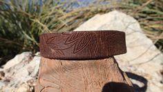 OOAK handmade leather choker/ hand carved by longshotleather