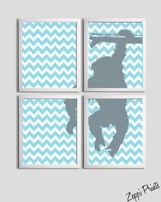 Would be so perfect for the babys nursery, the theme is going to be gray, turquoise, & white chevron! :) Nursery Art Chevron Tangerine Boy Girl Monkey by ZeppiPrints, $48.00