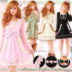 Japanese Lolita Style Dress Pink Size Small Kawaii Bowtie   eBay