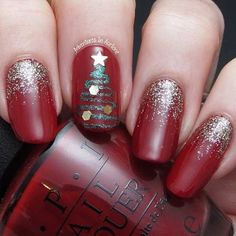 Red and Gold Glitter Nails + Christmas Tree Accent Nail
