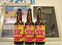Cerveja BrewDog Never Mind The Anabolics, estilo India Pale Ale (IPA), produzida por BrewDog, Escócia. 6.5% ABV de álcool.