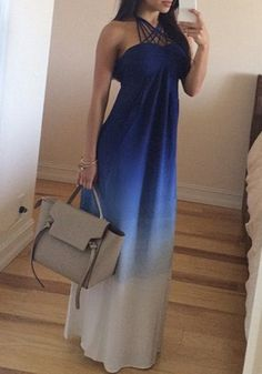 So Pretty! Love this Dress Color + Design Blue Gradient Plain Condole Belt Cross Front Sexy Maxi Dress #Ombre #Gradient #Blue #Maxi_Dresses #Dresses