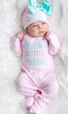 Personalized Infant Gown Baby Shower Fuchsia Pink and Aqua Newborn Hospital Set Personalized Bow Hat Infant  Gown