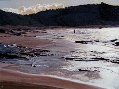 DJ Hershman  Walking into the Silver Sea   Oil on Board  H 18in x W 24in