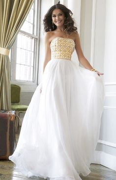 Gold White Strapless Prom Dress Sherri Hill 11107 On Sale Ivory Prom Dresses, Prom Dresses Under 100, Prom Dress 2014, Sherri Hill Prom Dresses, Long Prom Gowns, Beaded Prom Dress, Prom Dress Shopping, Prom Dresses For Sale, Prom Party Dresses