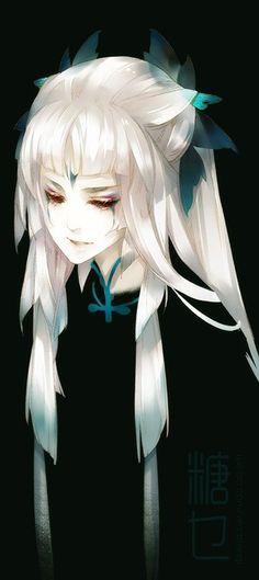 anime girl white hair
