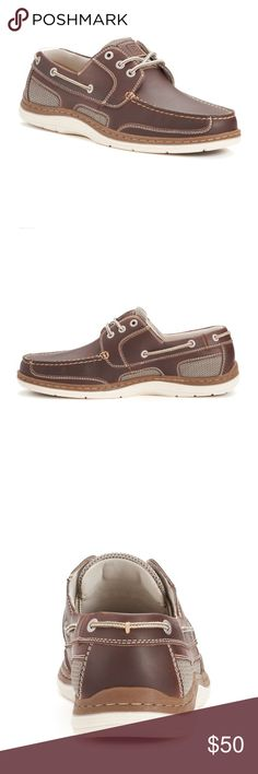 Chaps Men's Boat Shoes Enjoy leisurely style with memory foam comfort  when you Lace up these men's boat shoes.  *lightly padded collar & tongue, laced trim, stitched details, flexible design, leather upper, fabric lining, Eva outsole, round toe, memory foam insole. *New in box* Chaps Shoes Boat Shoes