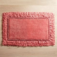 A treat for wet feet, our cotton bath rug is made for long-lasting comfort and easy care. And if you're looking for a little frill, it has a sweet, frayed edge, which resembles a ruffled border. Bathroom Red, Grey Bathrooms, Bathroom Ideas, Coral Bathroom Decor, Bathroom Closet, Glass Bathroom, Bathroom Wallpaper, Downstairs Bathroom, Small Bathroom