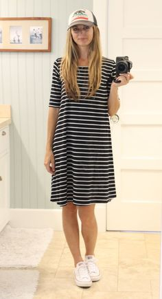 striped swing dress, baseball hat & converse