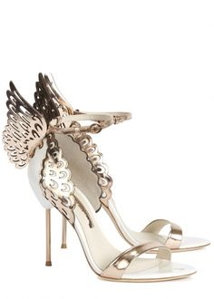 5f21c730ab32 Evangeline winged metallic leather sandals - Women White Strappy Sandals