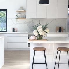 Scandinavian kitchen style is well-known for its simple appearance. the vibe of your kitchen, buying a contemporary table as furniture would Home Decor Kitchen, Rustic Kitchen, Home Kitchens, New Kitchen, Kitchen Ideas, Kitchen White, Kitchen Layout, Kitchen Hacks, Modern Kitchens