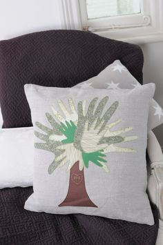 Family tree personalised handprint cushion by Twolittlepeasandme