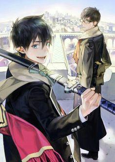 Blue Exorcist (Ao no Exorcist) - Rin Okumura x Yukio Okumura Ao No Exorcist, Blue Exorcist Anime, Manga Anime, Fanarts Anime, Anime Eyes, Rin Okumura, Mephisto, I Love Anime, Awesome Anime