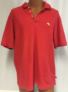 Tommy Bahama Polo L Men's Pima Cotton Shirt Marlin Red Golf Casual Camp #TommyBahama #PoloRugby