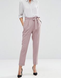 Image 4 of ASOS Woven Peg Trousers with OBI Tie More