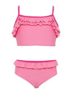 Square Neck Frilled Tankini with Chlorine Resistant (1-7 Years) | M&S