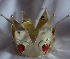 deluxe queen of hearts mini crown tiara red gems gold women's costume accessory $30 including shipping