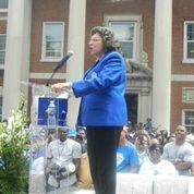 International President, Mary B. Wright , addresses members of Zeta Phi Beta Sorority and Phi Beta Sigma Fraternity on the campus of Howard University during the 2014 Boule Celebration and the Celebration of 100 years of Phi Beta Sigma Fraternity Incorporated.