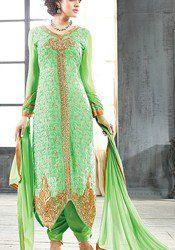 Remarkable Green Georgette & Santoon Designer Suit