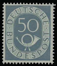"German Federal Republic, Michel 134I. 50 Pf. posthorn 1951, mint never hinged stamp with the plate flaw ""I = vertical marked rechterer lower corner"". Photo expertize Schlegel BPP > genuine and immaculate <.; Michel 1. 800, ?"