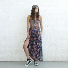 A mixed-print maxi dress delivers two trends in one. #etsyfashion #festivalstyle