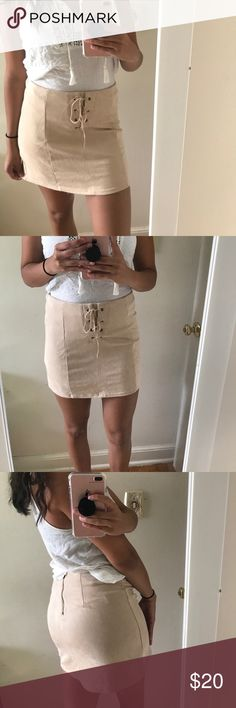 Contemporary lace up suede skirt Perfect condition, can be dressed up or down. I love the color of the skirt but never get around to wearing it. I am 5'9 for reference. Forever 21 Skirts