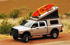 The hottest trend in the car-camping and overland world right now is the lightweight pop-top truck camper. It combines a truck topper shell and a rooftop tent. These go-anywhere truck campers are ready for adventure! Pop Top Camper, Camper Tops, Pop Up Truck Campers, Slide In Camper, Pickup Camper, Car Camper, Offroad Camper, Truck Bed Camping, Truck Tent