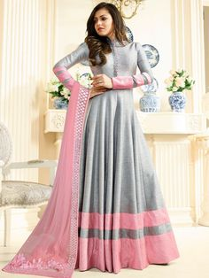 Buy Drashti Dhami Grey color silk party wear anarkali kameez in UK, USA and Canada Party Wear Indian Dresses, Indian Gowns Dresses, Dress Indian Style, Indian Outfits, Abaya Style, Indian Frocks, Anarkali Dress, Anarkali Suits, Indian Anarkali