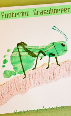 Footprint Grasshopper Craft - one of the cutest crafts I've seen! Insect Crafts, Bug Crafts, Daycare Crafts, Classroom Crafts, Toddler Art, Toddler Crafts, Projects For Kids, Crafts For Kids, Footprint Crafts