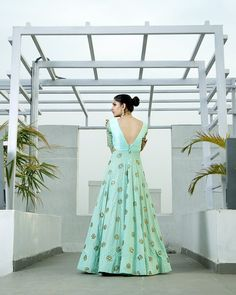 Mint anarkali cut out gown with hexagon embroidery on sleeves, body and on bottom. Includes a tulle embroidered dupatta. Also available in yellow, gre Indian Gowns, Indian Wear, Indian Outfits, African Fashion, Indian Fashion, African Style, Anarkali Gown, White Anarkali, Lehenga Blouse