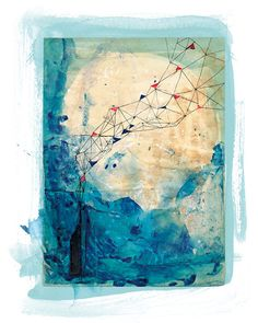 Blue Collage Unframed Archival Giclee Art by lovelysweetwilliam