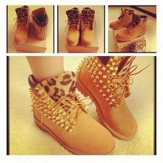 There are 5 tips to buy shoes, leopard timberlands, spiked shoes, timberland heels. Custom Timberland Boots, Timberland Boots Women, Timberland Outfits, Timberland Fashion, Buy Shoes, Dress Shoes, Cheetah Print Heels, Spike Shoes, Disney Inspired Fashion