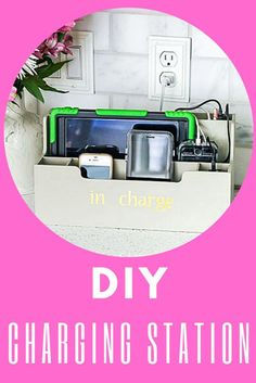 Would you believe a wooden organizer can be this stylish charging station? I'll show you how to make it! Kitchen Desks, Wooden Organizer, Simple Desk, Office, Desk Organization, Stylish, Work Desk Organization