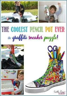 This Graffiti Sneaker 3D puzzle is great because it's also practical! It is in fact, also a pencil pot to keep all those stray pens and pencils tidied up.