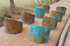 """Thanks for the kind words! ★★★★★ """"These napkin rings are simply elegant, as jewelry is on the hand, so are these on a table!"""" Ann P. http://etsy.me/2o2Cy7s #etsy #housewares #blue #bridalshower #christmas #copper #metal #dinnerset #copperpatina #bluenapkinrings"""