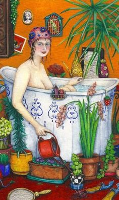 Valérie Dumas Bath Art, Bathroom Art, Relaxing Bath, Plant Illustration, Splish Splash, Heart Art, Illustrations, Female Art, Make Me Smile