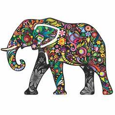 Enfeite Elefante Colorido Mdf 25x17cm