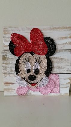 Visit us on All Strung Up. Nail String Art, String Crafts, Disney Button Art, Easy Yarn Crafts, Arte Linear, Yarn Wall Art, Mouse Crafts, Minnie Mouse, String Art Patterns