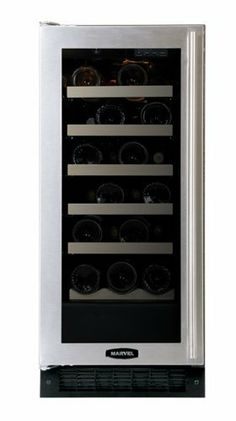Marvel 15-Inch Wide Under Counter Wine Cellar Black Cabinet Glass and Stainless Steel Door by Marvel. $1499.00. From the Manufacturer                For over 70 years, Marvel has been committed to enhancing the lifestyle for customers. Today, with their unparalleled line of luxury undercounter wine and refrigeration products, Marvel is an industry leader in style, design and sheer range of choices for homeowner. As part of the world-renowned Aga Rangemaster Group, Marvel