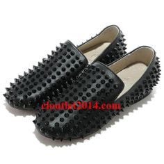 Discount Christian Louboutin Rollerboy Spikes Flats All Black