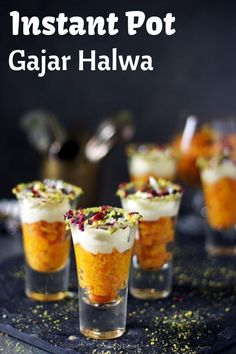 Instant Pot Gajar Halwa is an Indian Carrot Pudding that is the easiest dessert recipe you could ever come across! Sweetened with condensed milk and without khoya this is a perfect crowd pleaser for Carrot Halwa Recipe, Carrot Pudding, Indian Dessert Recipes, Indian Sweets, Fusion Food, Instant Pot, Shot Glass Desserts, Comida India, Vegetarian Recipes