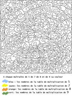 coloriage numéroté - CE2 / tables de multiplication de 5, 7, 8 et 9