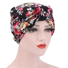 Bowknot Flower Printed Ruffle Chemo Hat (Varied Prints Available)
