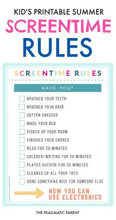 Screentime Rules for Kids on Summer Break Screentime Rules for Summer. Printable Screentime Rules is a checklist of personal tasks, chores & educational / screen-free activities to earn screen time. Kids And Parenting, Parenting Hacks, Parenting Styles, Parenting Plan, Parenting Classes, Parenting Quotes, Rules For Kids, Chores For Kids By Age, Toddler Chores