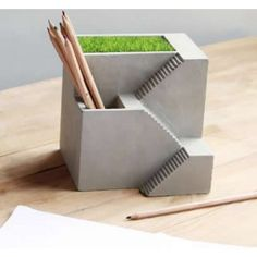 Discover Cool Stuffs And Wonderful Gift Concrete Crafts, Concrete Art, Concrete Projects, Clay Fairy House, Cement Pots, Cube Design, Office Set, Diy Home Decor Projects, Stone Art