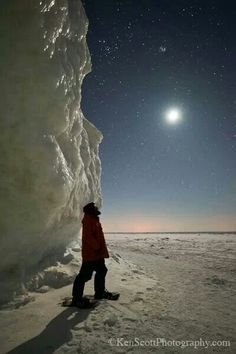 Ice, moon, stars at Lake Michigan- March 2014 Ken Scott Photography