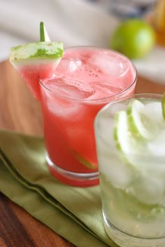 Cucumber Caipiranha and Watermelon Cucumber Cooler - they have fruit and veggies, they must be healthy, right?